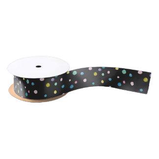 Watercolor dots om black satin ribbon