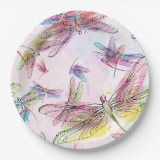 Watercolor Dragonflies Paper Plate