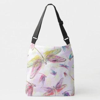 Watercolor Dragonflies Pink Lavender Purple bag
