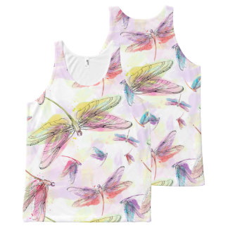 Watercolor Dragonflies Pink Lavender Yellow White