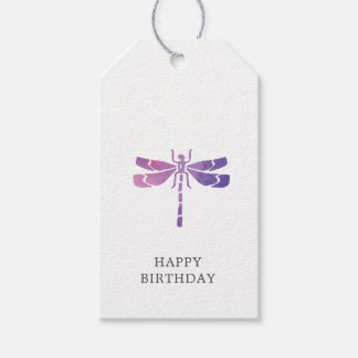 Watercolor Dragonfly Happy Birthday Gift Tag