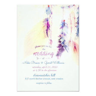 Watercolor Dreamcatcher Boho Wedding Invitation