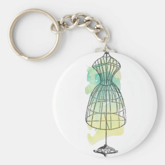 Watercolor Dress Form Keychain