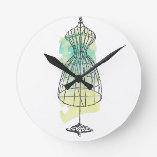 Watercolor Dress Form Round Clock