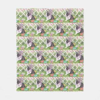 Watercolor Dutch Rabbit Easter Eggs Fleece Blanket
