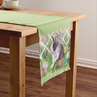 Watercolor Dutch Rabbit Easter Eggs Short Table Runner