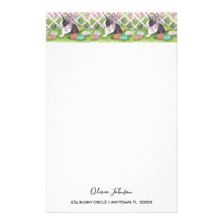 Watercolor Dutch Rabbit Easter Eggs Stationery
