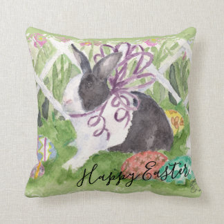 Watercolor Dutch Rabbit Easter Eggs Throw Pillow