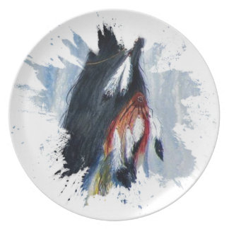 Watercolor Eagle Feathers Plate