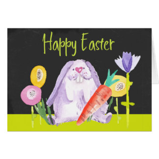 Watercolor Easter Bunny With Carrot And Flowers Card