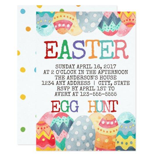 Watercolor Easter Egg Hunt Invitation
