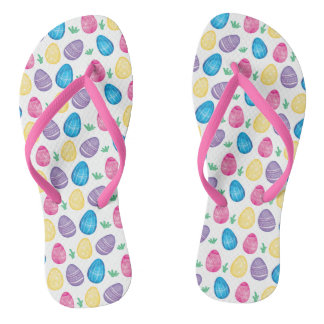 Watercolor Easter Egg Hunt Pattern Flip Flops
