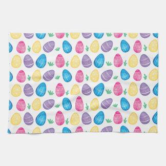Watercolor Easter Egg Hunt Pattern Kitchen Towel