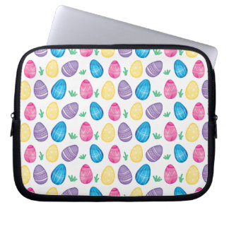 Watercolor Easter Egg Hunt Pattern Laptop Sleeve