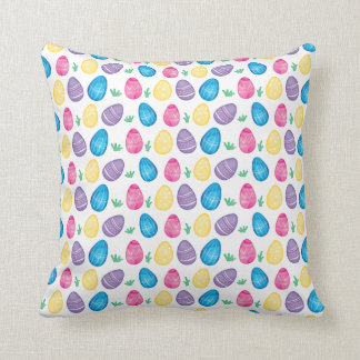 Watercolor Easter Egg Hunt Pattern Throw Pillow