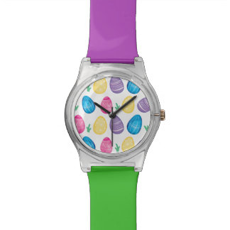 Watercolor Easter Egg Hunt Pattern Watch
