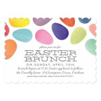Watercolor Easter Eggs Brunch Invitation