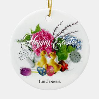 Watercolor Easter Eggs, Ducklings & Spring Flowers Ceramic Ornament