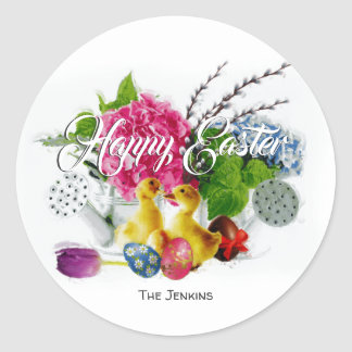 Watercolor Easter Eggs, Ducklings & Spring Flowers Classic Round Sticker