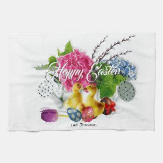Watercolor Easter Eggs, Ducklings & Spring Flowers Kitchen Towel