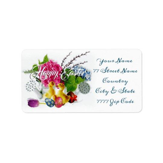 Watercolor Easter Eggs, Ducklings & Spring Flowers Label