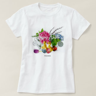 Watercolor Easter Eggs, Ducklings & Spring Flowers T-Shirt