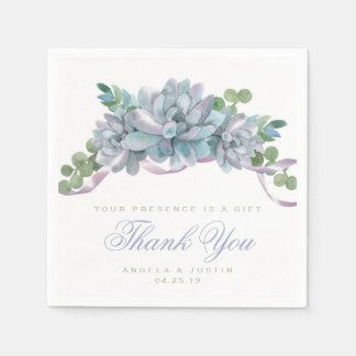 Watercolor Echeveria with Purple Ribbon Disposable Napkin