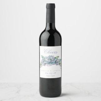 Watercolor Echeveria with Purple Ribbon Wine Label