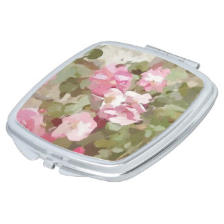 Watercolor Effect Pink Climbing Roses Vanity Mirror
