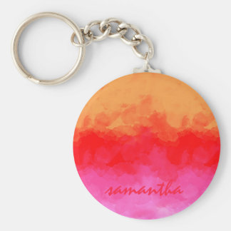 Watercolor Effects Fruit Salad ID134 Basic Round Button Keychain