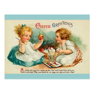 Watercolor Eggs Easter Greetings Postcard