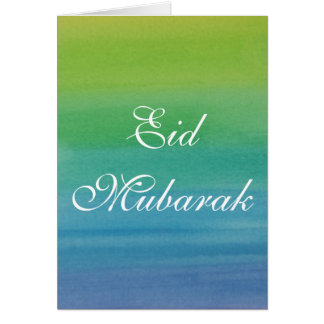 Watercolor Eid Mubarak Card in Green Blue