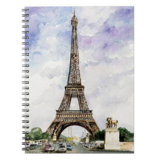 Watercolor Eiffel Tower Notebook