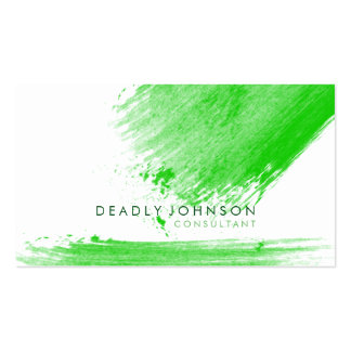 Watercolor Elegant Simple Splatter Green Nature Business Card