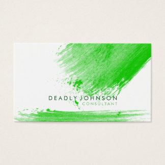 Watercolor Elegant Simple Splatter Green Nature Business Card