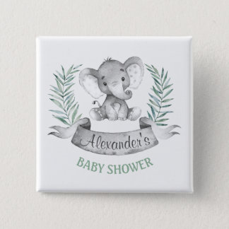Watercolor Elephant Baby Shower 2 Inch Square Button