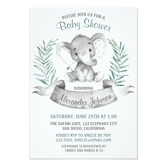 Watercolor Elephant Baby Shower Card