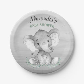 Watercolor Elephant Baby Shower Paper Plate