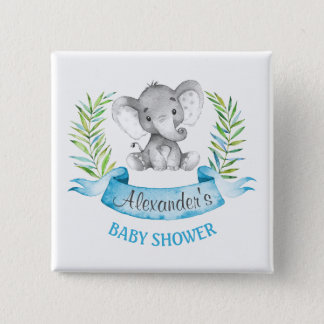 Watercolor Elephant Boy Baby Shower 2 Inch Square Button