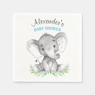Watercolor Elephant Boy Baby Shower Disposable Napkins