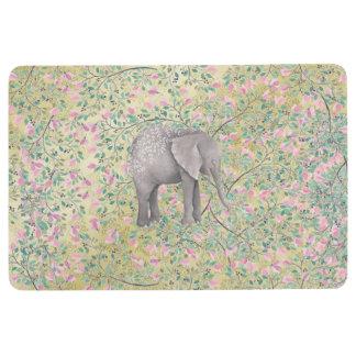 Watercolor Elephant Flowers Gold Glitter Floor Mat