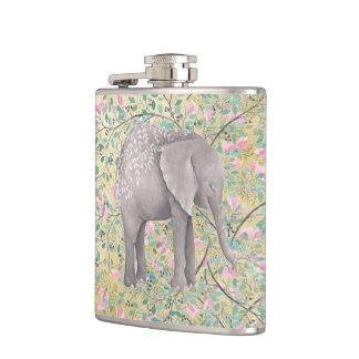 Watercolor Elephant Flowers Gold Glitter Hip Flask