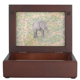 Watercolor Elephant Flowers Gold Glitter Keepsake Box