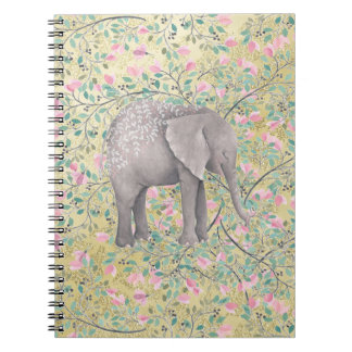 Watercolor Elephant Flowers Gold Glitter Notebook