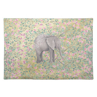Watercolor Elephant Flowers Gold Glitter Placemat