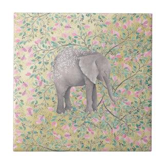 Watercolor Elephant Flowers Gold Glitter Tile