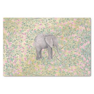 Watercolor Elephant Flowers Gold Glitter Tissue Paper