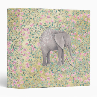 Watercolor Elephant Flowers Gold Glitter Vinyl Binder