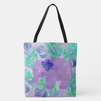 Watercolor Elephant Jungle Monstera Leaf Monogram Tote Bag