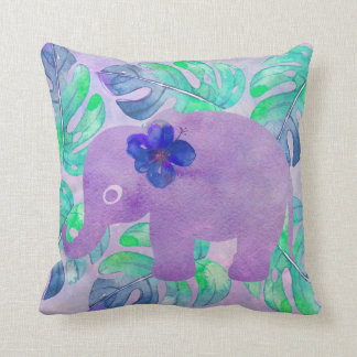 Watercolor Elephant Jungle Monstera Leaf Primitive Throw Pillow